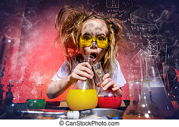 experiments in the lab - Funny little girl doing experiments...