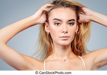 long blonde hair - Close-up portrait of a beautiful blonde...