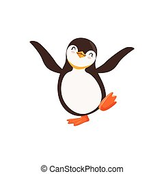 Cute vector Happy Penguin Toon Character Dancing With Its...