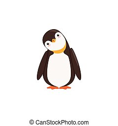 A Funny Penguin Toon Is Tilting His Heard With White...