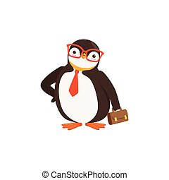 Cute Doodle Penguin Toon In Glasses and Tie Is Holding A...