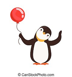 Cute Doodle Penguin Character Is Holding A Red Baloon On A...