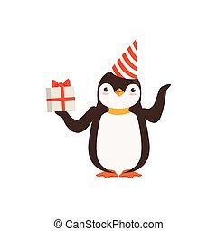 Funny Cute vector Penguin Character In A Party Hat With A...