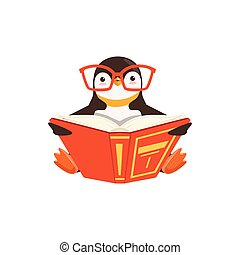 vector Cute Toon Penguin In Glasses Reading A Book On White...