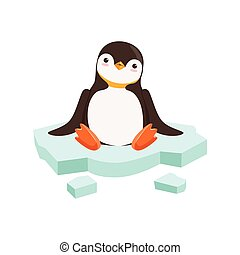 vector Cute Funny Penguin Character Is Sitting On A Block Of...
