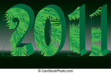 Transparent 2011 with fir tree branches inside, vector illustration