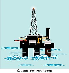 Ecology Concept - Oil production in the sea. industry vector illustration Infographics. Processing of gasoline fuel. icons for your design