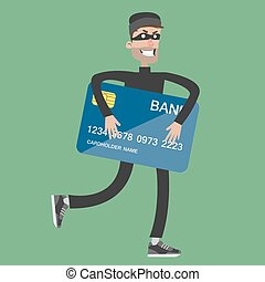 Stealing bank card. Thief in black outfit and mask holding...