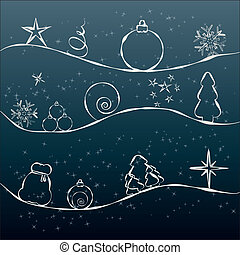 Christmas card with unusual pattern, vector illustration