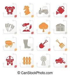 Stylized Agriculture and farming icons - vector icon set