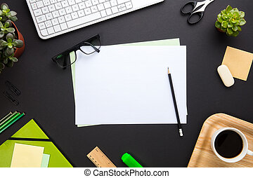 Blank Documents Surrounded By Office Supplies On Gray Desk -...