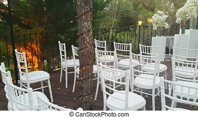 Decorations for wedding ceremony at sunset. - Decorations...