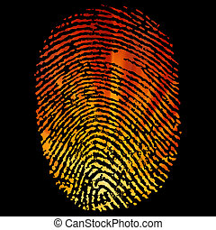 Glowing Finger Print. EPS 8 vector file included