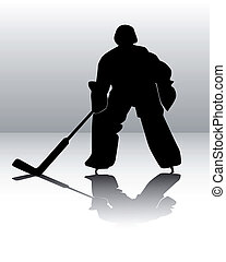 hockey goalie on a gray background