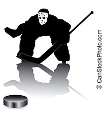 hockey goalie on a white background