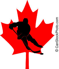 silhouette of a hockey player in the background of a red...