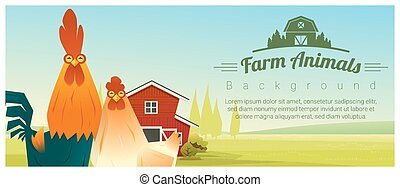 Farm animal and Rural landscape background with chicken ,...