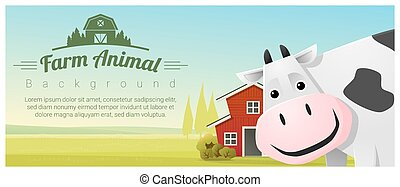 Farm animal and Rural landscape background with cow , vector...
