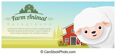 Farm animal and Rural landscape background with sheep