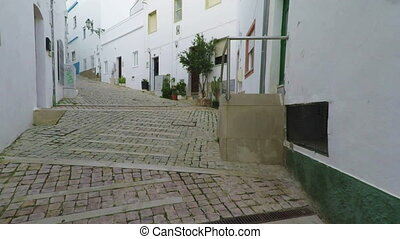 Walk through old town of Albufeira. Portugal - Walk through...