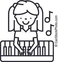 girl playing on piano vector line icon, sign, illustration...