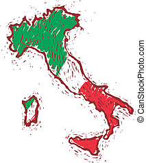 Italy map with italian flag in engrave style.