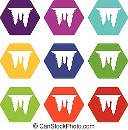 Icicles icon set color hexahedron - Icicles icon set many...