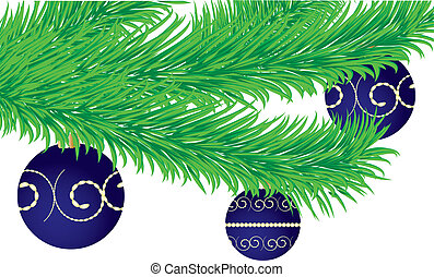 Christmas greetings card with fir tree branch decorated with...