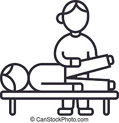 osteopathy,manual therapy,massage vector line icon, sign,...