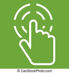 Click icon green - Click icon white isolated on green...