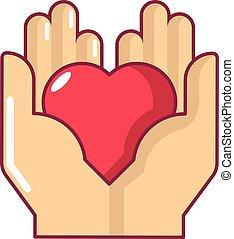 Hand heart icon, cartoon style - Hand heart icon. Cartoon...