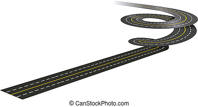 Spiral road concept illustration isolated on white...