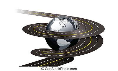 Spiral road concept illustration on