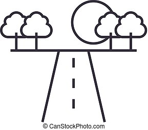 road in horizont vector line icon, sign, illustration on...