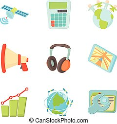 Growth of data analytic icons set, cartoon style - Growth of...