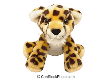 Cute little toy of leopard, isolated on white background