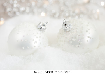 Christmas baubles - Beautiful silver christmas baubles in...
