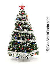 Colorful decorated artificial Christmas tree isolated on...