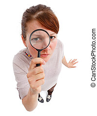 Serious woman as detective with magnifier - Casual young...