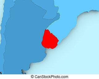 Stock Illustration Of Relief Map Salto Uruguay DRendering - Uruguay relief map