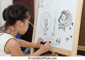 Kid painting - An asian kid painting on the white board