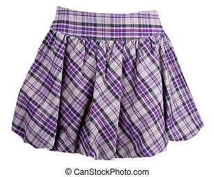 Plaid feminine skirt insulated on white background