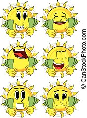 Cartoon sun holding or showing money bills. Collection with...