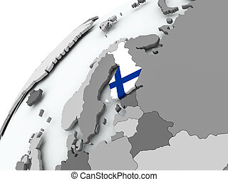 Flag of Finland on grey globe - Finland with embedded flag...