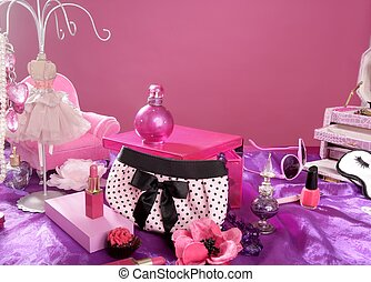 barbie style fashion makeup vanity dressing table pink and...