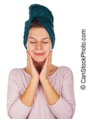 Skincare after bath - Smiling young woman after bath with a...