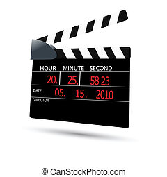 clapper board - illustration of clapper board on white...
