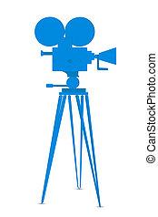 movie camera - illustration of movie camera on white...