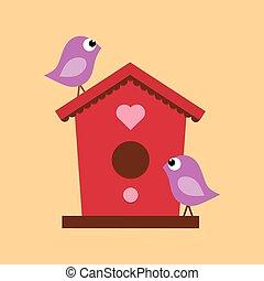 birdhouse with two birds - cartoon birdhouse on a beige...
