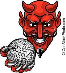 Devil Golf Sports Mascot - A devil cartoon character sports...